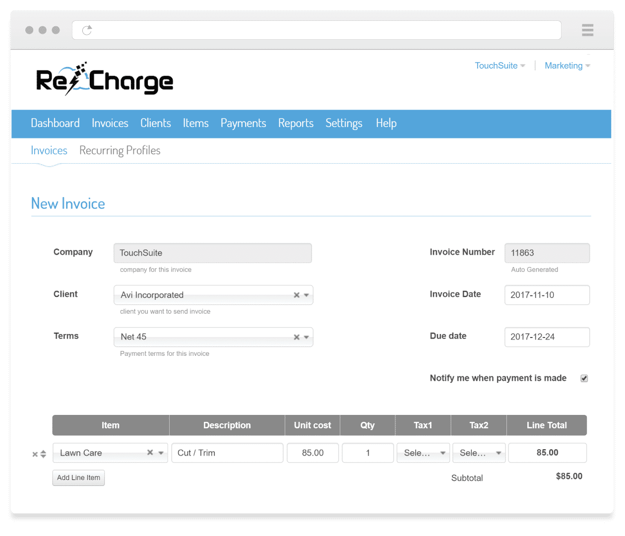 recharge-electronic-invoicing