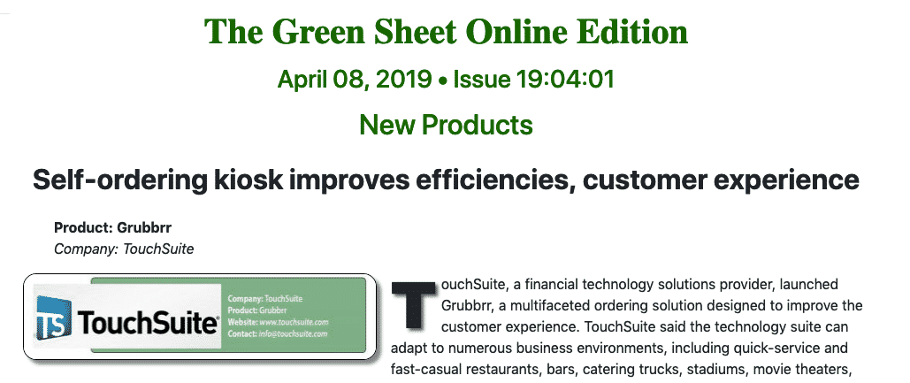 TouchSuite In The Greensheet