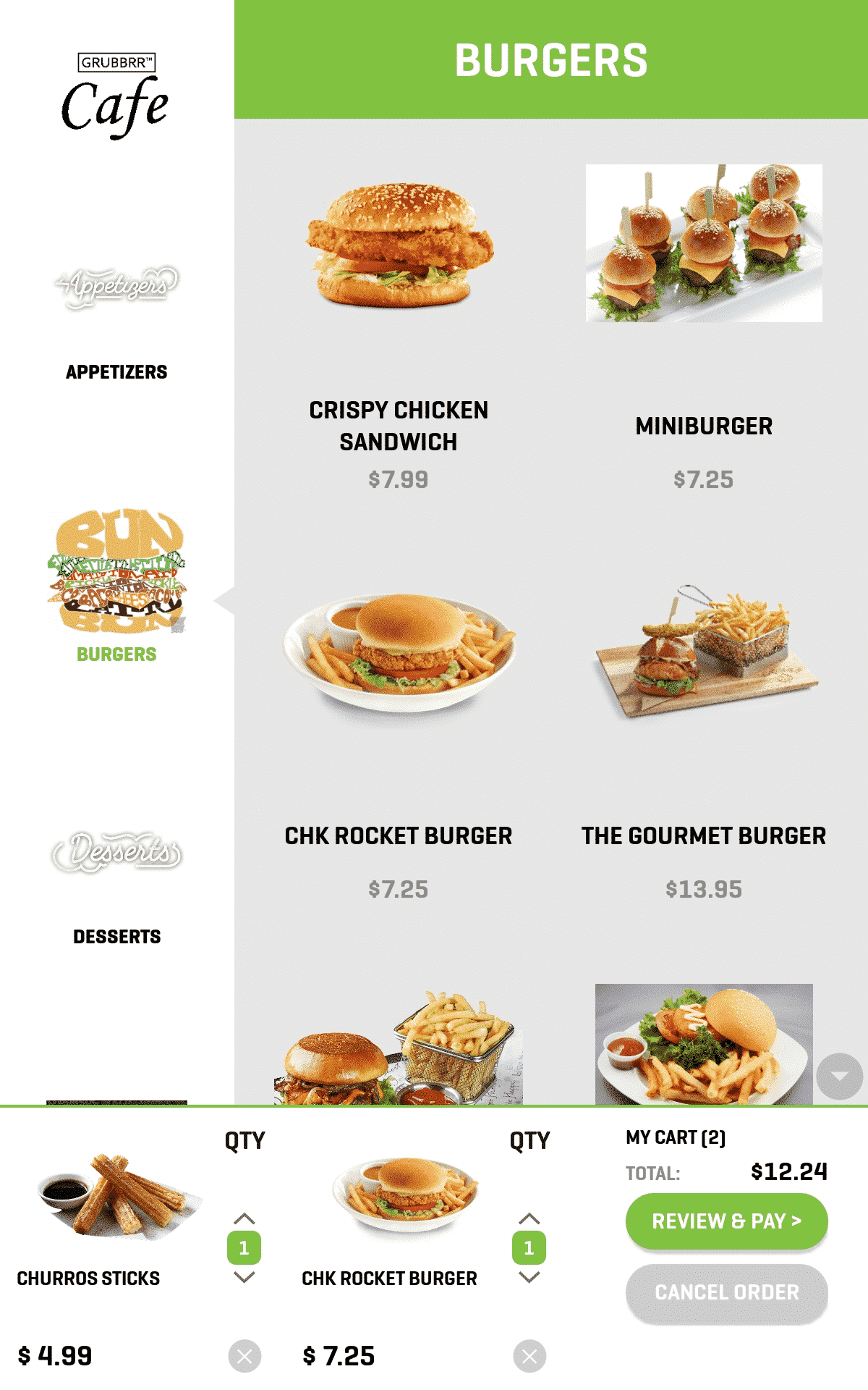 Kiosk Screenshot Burgers View