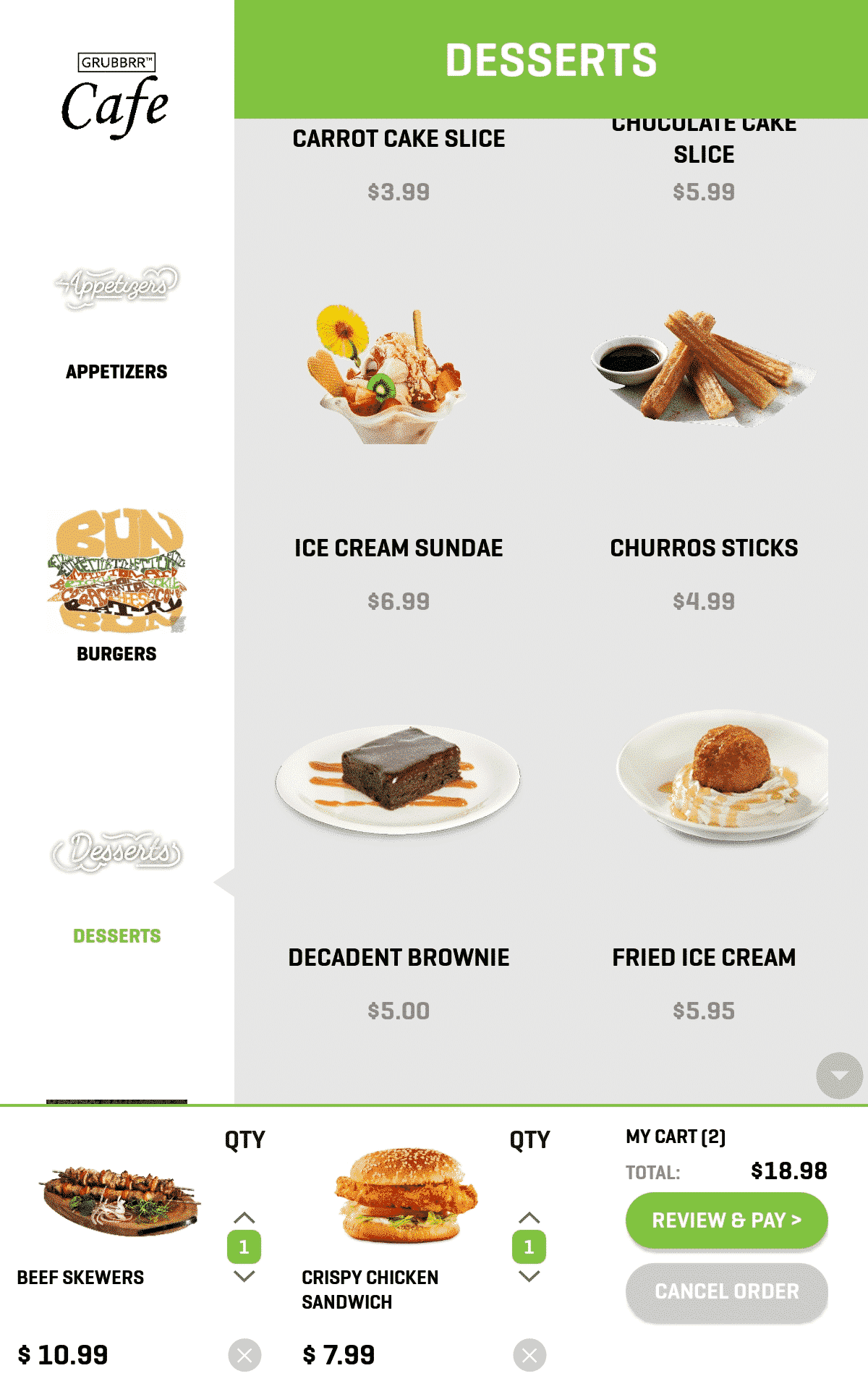 Kiosk Screenshot Desserts