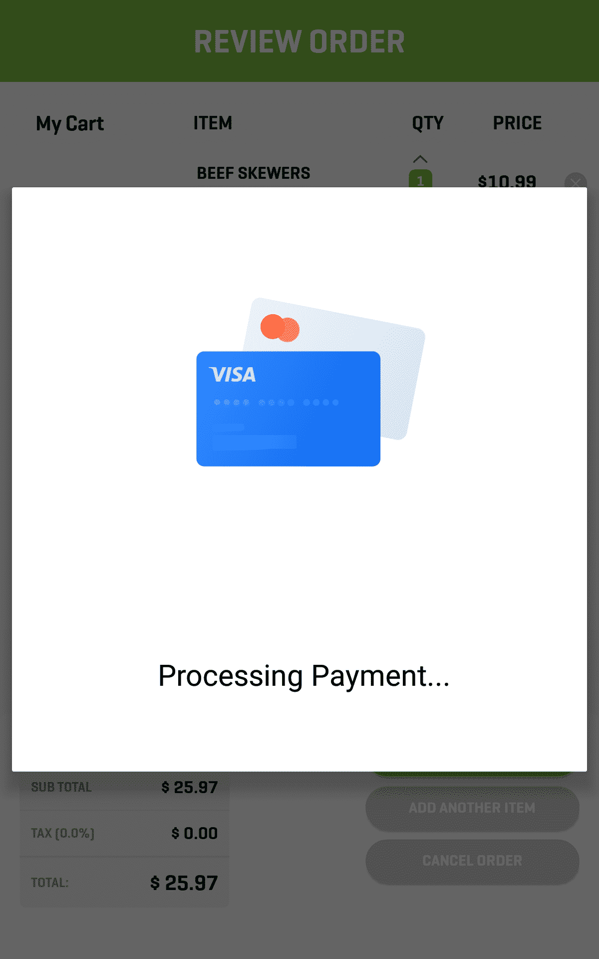 Kiosk Screenshot Processing Payment